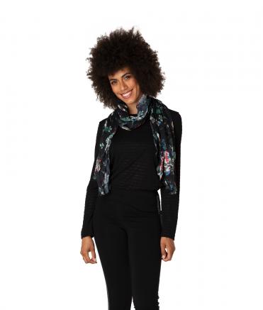 Yest Scarf Floral Black Multicolor