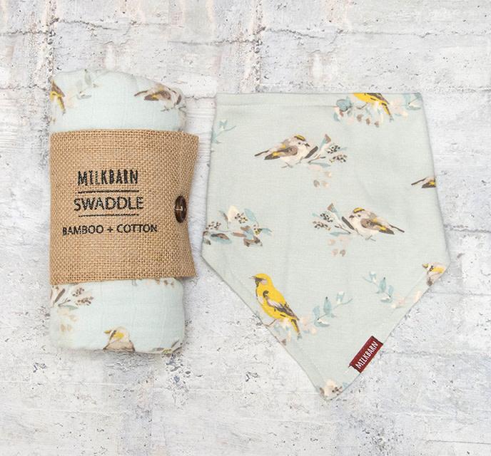 Milkbarn Bundle Bamboo Swaddle & Kerchief Bib Bird
