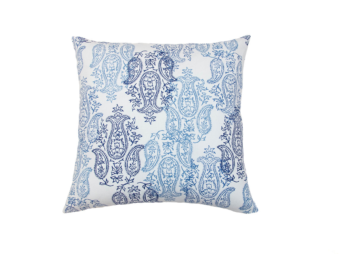 Kreatelier Paisley John Robshaw Pillow in Blue 18 x 18in