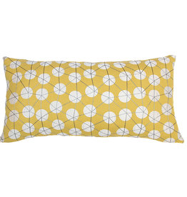 Kreatelier Appliquee Circles Pillow in Mustard 11 x 22in