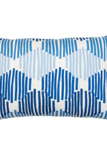Kreatelier Geometric Pillow in Blues and White 15 x 22in