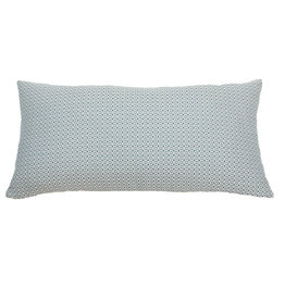 Kreatelier Geo Pillow in Blue and White - 11 x 21in