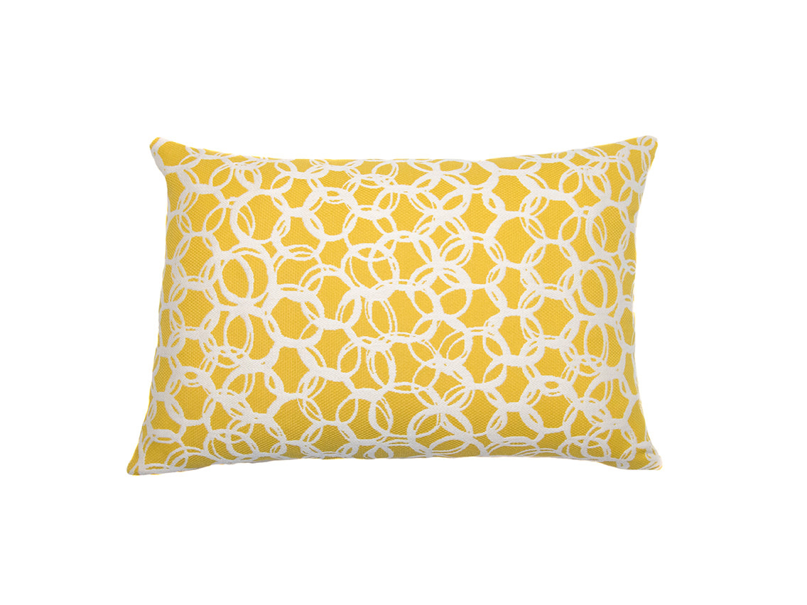 Kreatelier Circle Print Pillow in Yellow 15 x 22in
