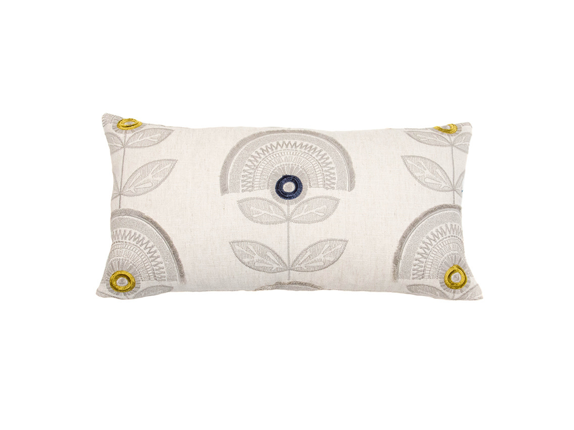 Kreatelier Embroidered Pillow in Linen 11 x 21in