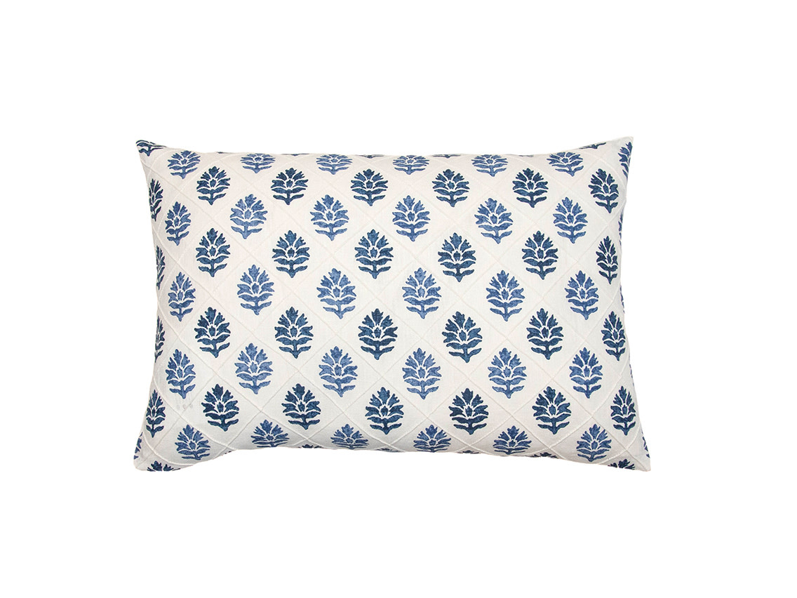Kreatelier Block Print Pillow in Blue and White 15 x 22in