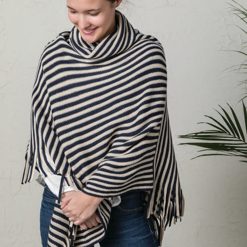 Demdaco Cowl Neck Poncho in Taupe