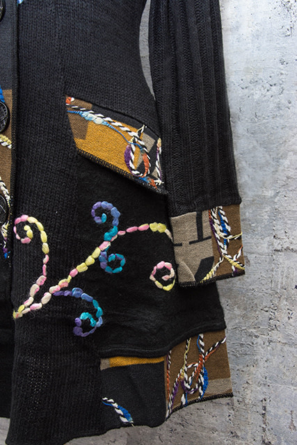 Vintage Concept Embroidered Sweater Coat in Black Multi