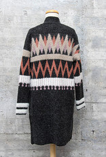 Vintage Concept Long Cardigan in Black Multi