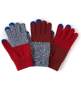 Verloop Pair and Spare Touchscreen Gloves in Red Blue Marl