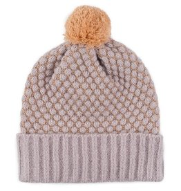 Verloop Quilted Bobble Pom Hat in Mineral Pink