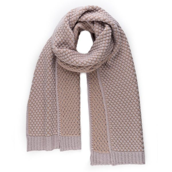 Verloop Quilted Bobble Scarf in Mineral Pink