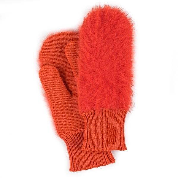 Verloop Faux Fur Mittens in Poppy