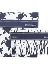3greenmoms 2-Pack Reusable Bag Set Navy Sea Turtle (Velcro)