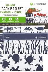 Lunchskins 2-Pack Reusable Bag Set Sea Turtle Navy (Velcro)
