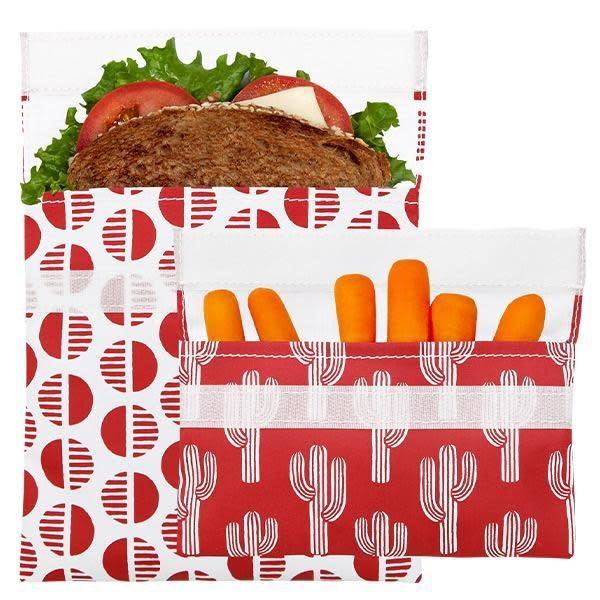 3greenmoms 2-Pack Reusable Bag Set Desert Red (Velcro)