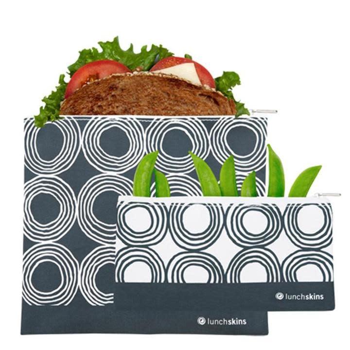3greenmoms 2-Pack Reusable Bag Set Charcoal Circles (Zippered)