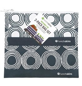 3greenmoms 2-Pack Reusable Bag Set Charcoal Circles (Zippered)