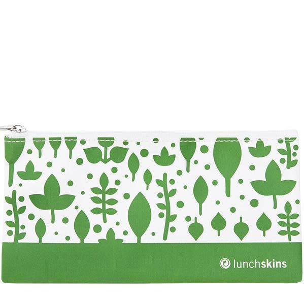 Lunchskins Reusable Snack Bag Green Leaves (Zippered)