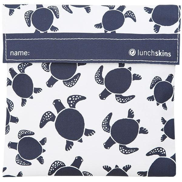 3greenmoms Reusable Sandwich Bag Navy Sea Turtle (Velcro)