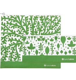 Lunchskins 2-Pack Reusable Bag Set Trees Green (Zippered)