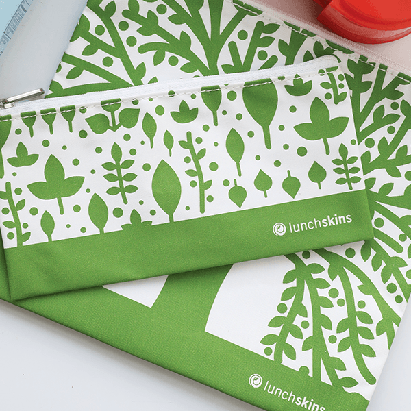 Lunchskins 2-Pack Reusable Bag Set Trees Green (Zippered)