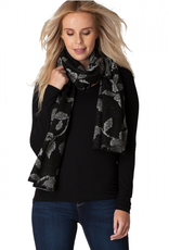 Yest Scarf Floral Black and White