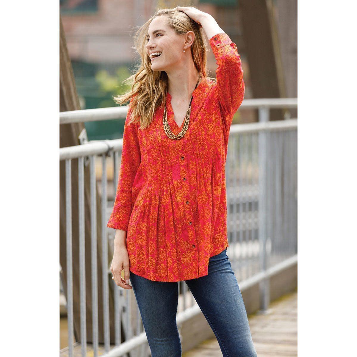 Rockflowerpaper Rayon Pintuck Tunic Imogen Berry