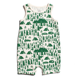 Winter Water Factory Tank Top Romper Campground Green