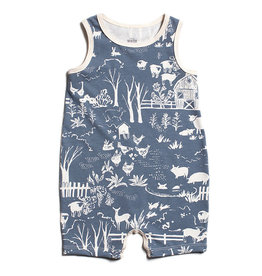 Winter Water Factory Tank Top Romper Farm Slate Blue