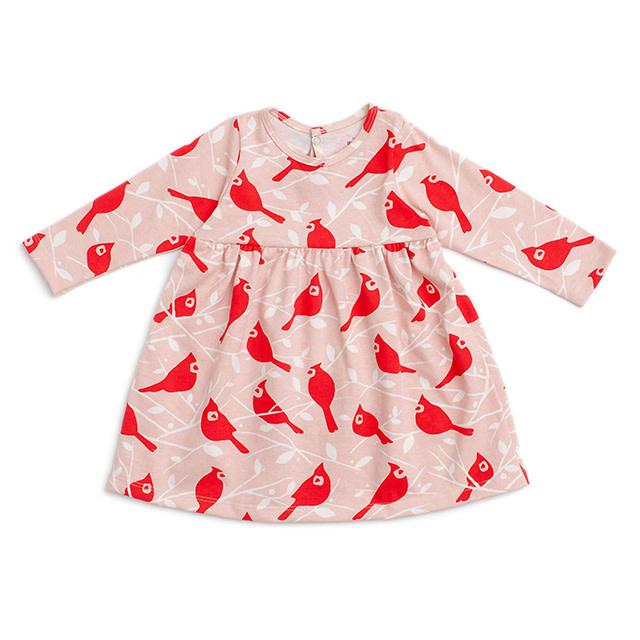 Winter Water Factory Geneva Baby Dress Birds & Trees Red Pink