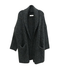 RD International Knitted Cardigan in Black Mix