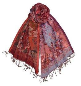 Dupatta Designs Scarf Fountainhead in Red Purple