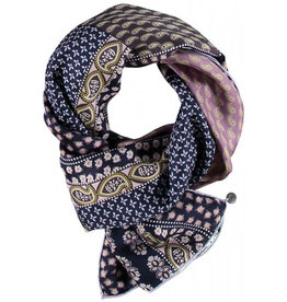 Fraas Patchwork Paisley Silk Oblong Scarf in Navy
