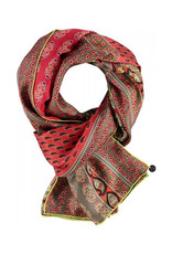 Fraas Patchwork Paisley Silk Oblong Scarf in Grass