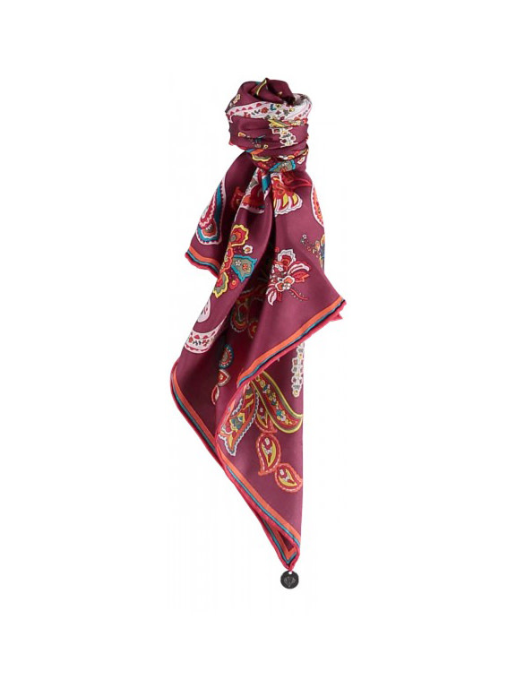 Fraas Perfect Paisley Neckie Scarf in Burgundy