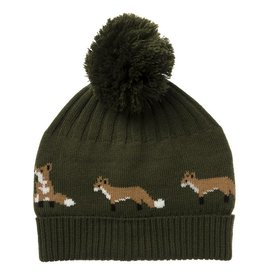 Sophie Allport Knitted Hat Foxes in Midnight Green