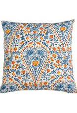 Kreatelier Block Print Pillow in Blue and Red 16 x 16in