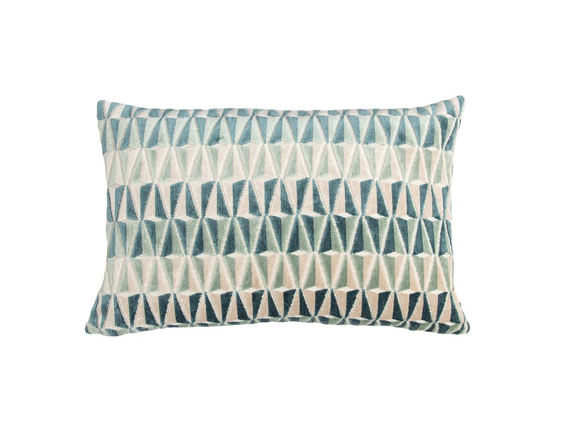 Kreatelier Art Deco Velvet Pillow in Teal 12 x 17in