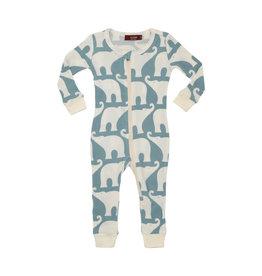 Milkbarn Organic Zipper Pajama Blue Elephant