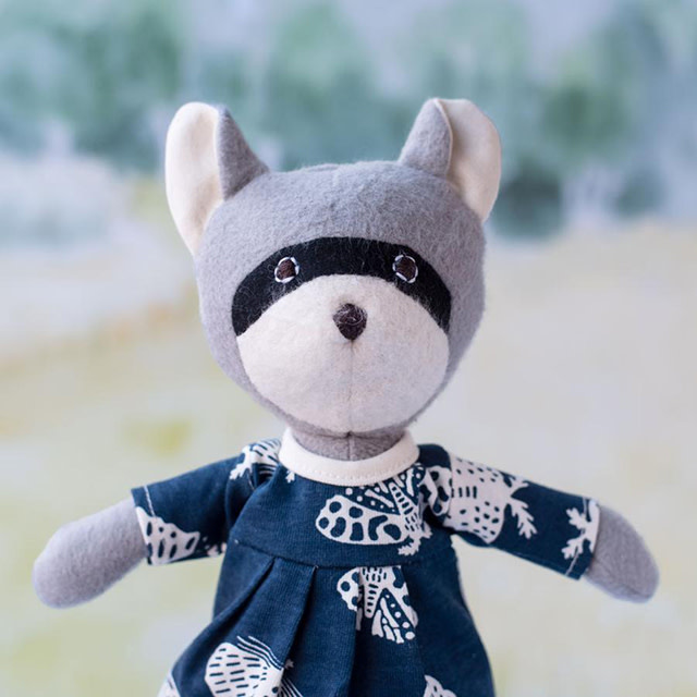 Hazel Village Stuffed Animal Gwendolyn Raccoon in Moths Dress