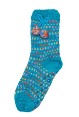 Snoozies Sherpa Lined Pom Socks Women Turquoise