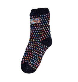 Snoozies Sherpa Lined Pom Socks Women Navy