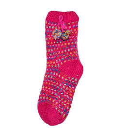 Snoozies Sherpa Lined Pom Socks Women Pink