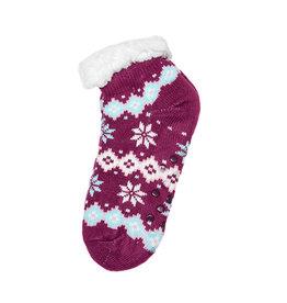 Snoozies Sherpa Lined Footie Socks Maroon