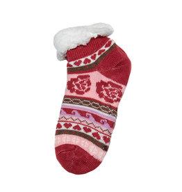 Snoozies Sherpa Lined Footie Socks Coral Flower