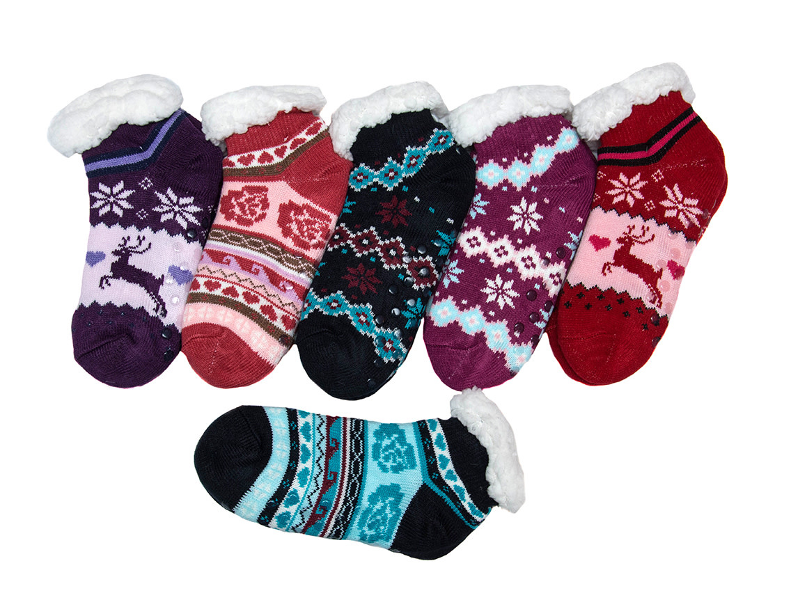 Snoozies Sherpa Lined Footie Socks Turquoise Flower