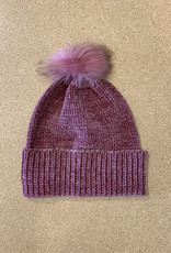 Fraas Chenille Metallic Fur Pom Hat in Plum