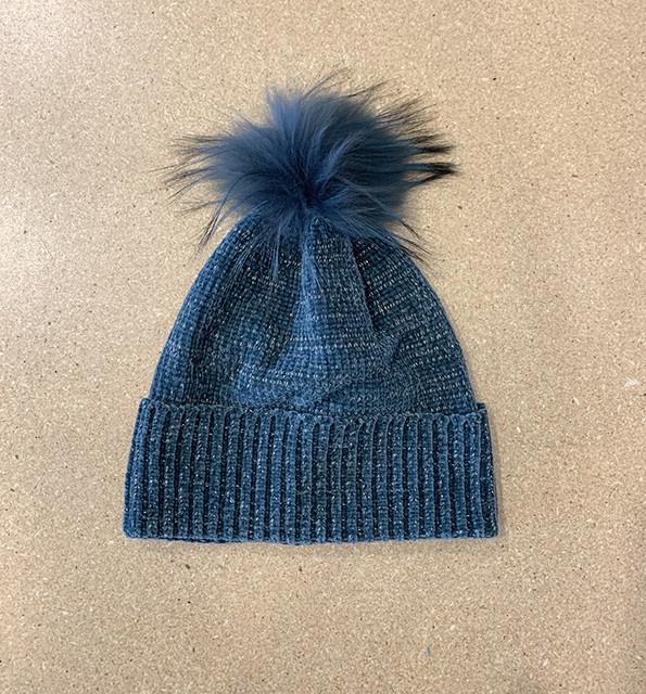 Fraas Chenille Metallic Fur Pom Hat in Petrol