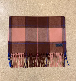 Fraas Cashmink Funky Check Scarf in Rosewood