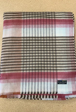 Fraas Ombre Plaid Cashmink Ruana Wrap in Chocolate
